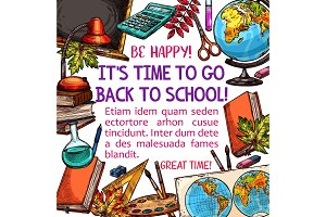 Back to School vector education sketch poster