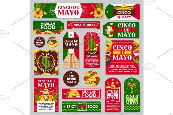 Mexican Cinco De Mayo Holiday Gift Tag And Label