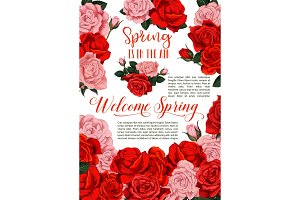 Vector spring holiday flowers roses floral poster