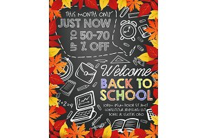 Back to School vector stationery sale offer poster