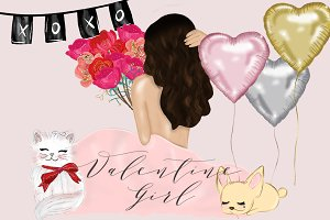 Valentine Girl Illustrations