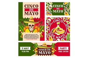 Mexican Cinco de Mayo holiday vector posters