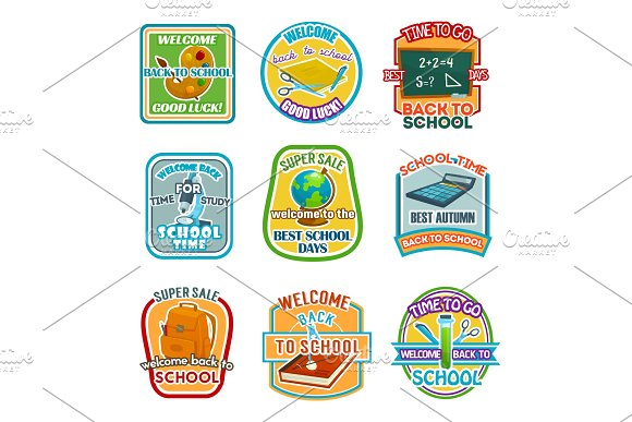 Back To School Vector Stationery Sale Offer Icons