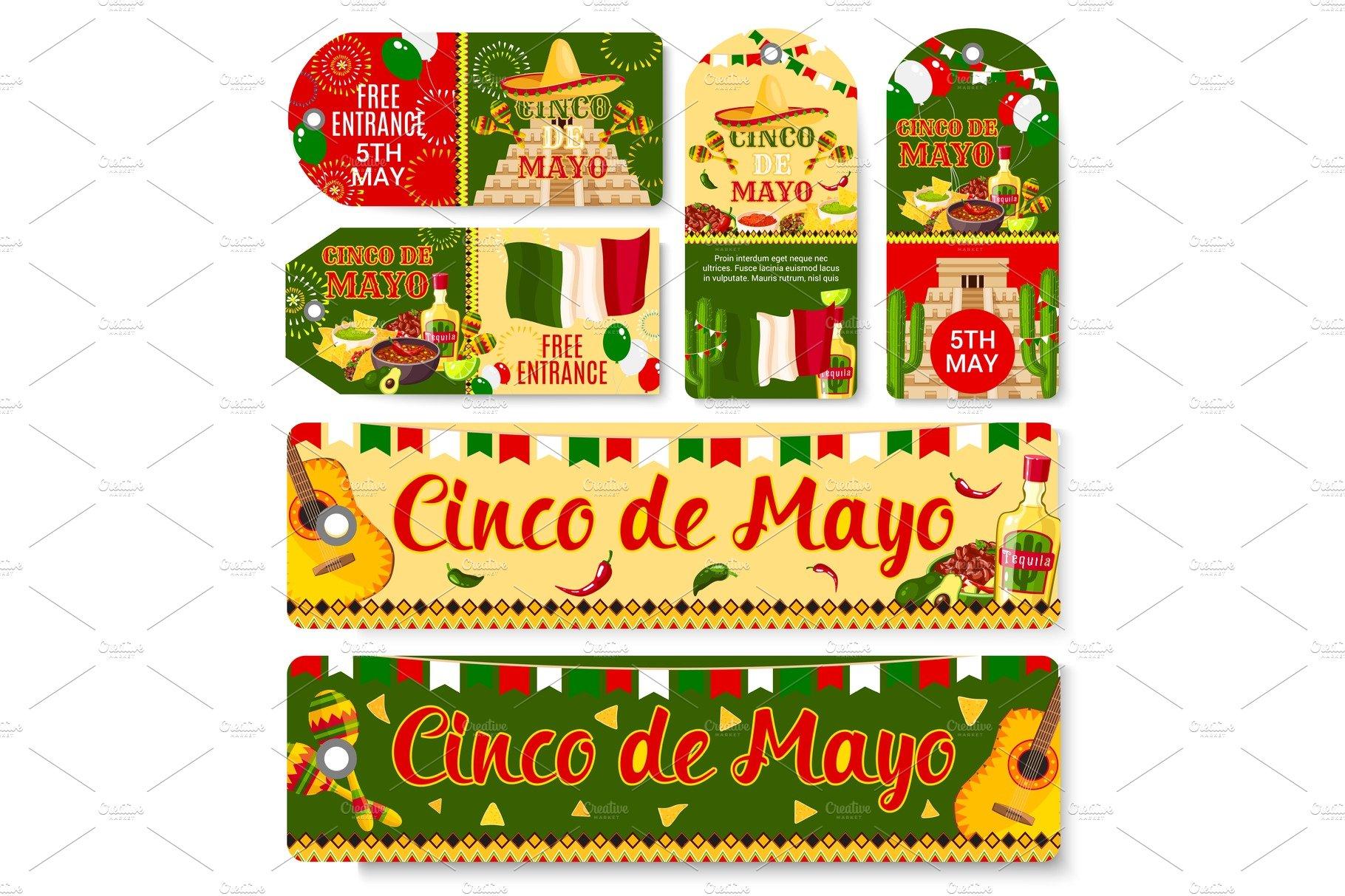 Cinco de mayo mexican holiday vector tags illustrations cinco de mayo mexican holiday vector tags illustrations creative market kristyandbryce Gallery