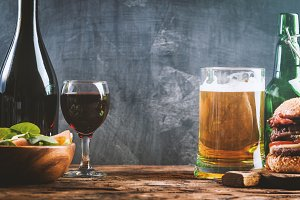 Glass of Beer and red wine