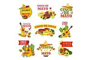 Mexican Cinco de Mayo fiesta party badge design