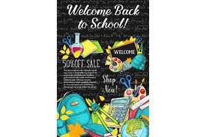 School supplies discount offer, sale banner design