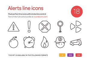 Alert Line Icons Set