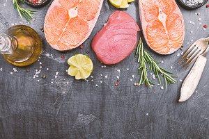 Raw tuna and salmon steak