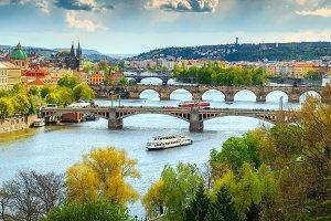 Fantastic Prague summer cityscape