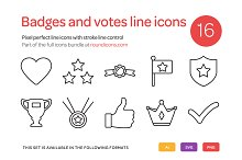 Badges and Votes Line Icons Set