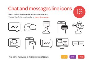Chat and Messages Line Icons Set