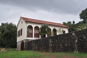 Old beautiful rural house stone wall