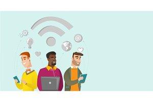 Multiracial businessmen working under wifi symbol.