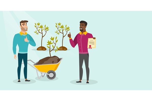 Two young multicultural men plant t…