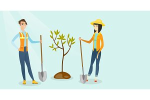 Caucasian white and asian women plant a tree.