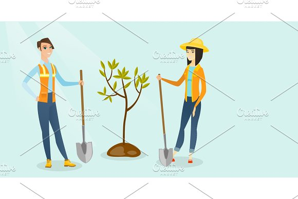 Caucasian White And Asian Women Plant A Tree