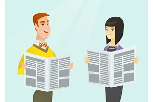 Asian woman and Caucasian man reading newspapers.
