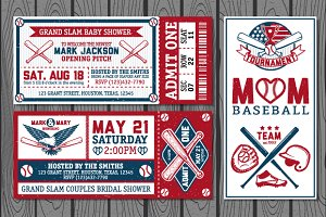 Baseball labels and badges. Set 1