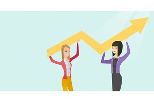 Multiracial business women holding growth graph.