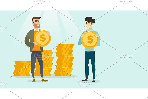 Two Multiethnic Businessmen With Dollar Coins