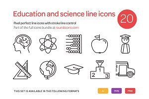 Education and Science Line Icons Set