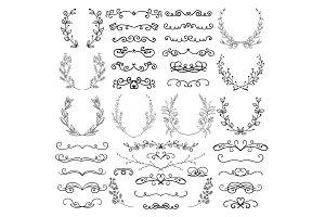 Drawn Swirls, Scrolls, Dividers, Laurels, Brackets