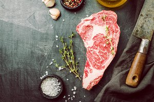 Raw Ribeye Steak