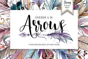 Watercolor & Ink Boho Arrows ClipArt