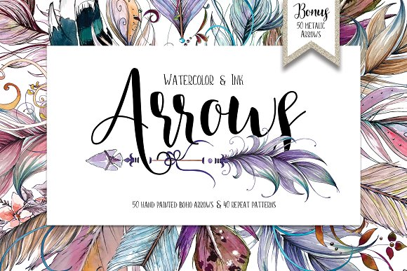 Watercolor Ink Boho Arrows ClipArt