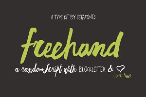 Freehand Brush - 4 Fonts + icons
