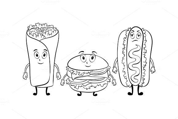 fast food cartoon coloring book vector illustrations - Cartoon Pictures For Coloring