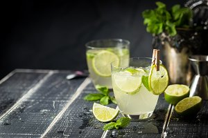 Lemonade or mojito cocktail