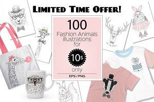 Fashion Animals bundle - 100 in 1