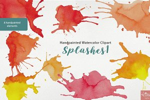 Watercolor Clipart Paint Splashes 1