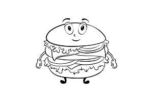 Burger cartoon coloring book vector
