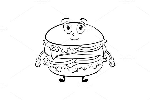 burger cartoon coloring book vector illustrations - Coloring Book Cartoons