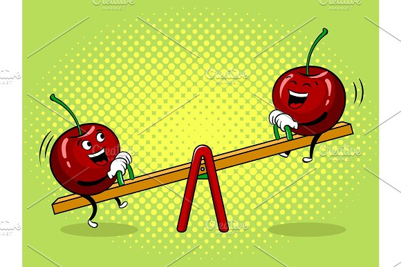 Cherry On Seesaw Pop Art Vector Illustration