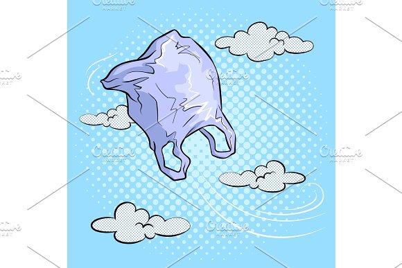 Plastic Bag Flying In Sky Pop Art Vector