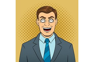 Businessman with clock in eyes pop art vector