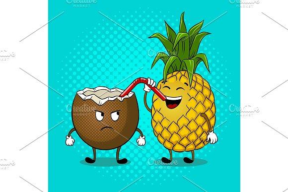 Pineapple Drink Coconut Pop Art Vector