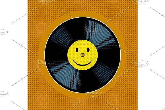 Vinyl Record With Yellow Smile Pop Art Vector