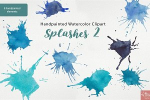 Watercolor Clipart Paint Splashes 2