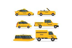 Taxi Transportation Service Car Set