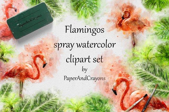 Pink Flamingo Tropical Watercolor