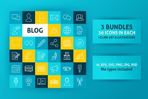 Blog Line Art Icons