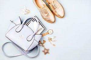 Female accessories in pastel colored