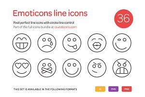 Emoticons Line Icons Set