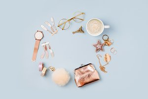 Women's accessories and coffee cup