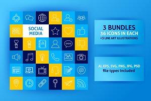 Social Media Line Art Icons